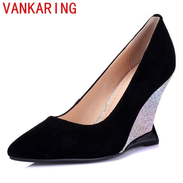 VANKARING shoes 2016 woman new arrival summer pumps round toe elegant platform dress shoes Women fashion wedges high heels shoes