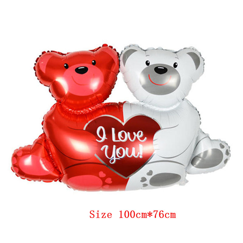 "Wedding decorations balloons New large double bears hug heart "" I love You"" foil balloons helium Balls air ballon party supplies"