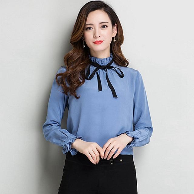 9926dcf95e 100% Blusa De Seda Camisa Das Mulheres Simples E Elegante Design Mangas  Compridas 2 Cores