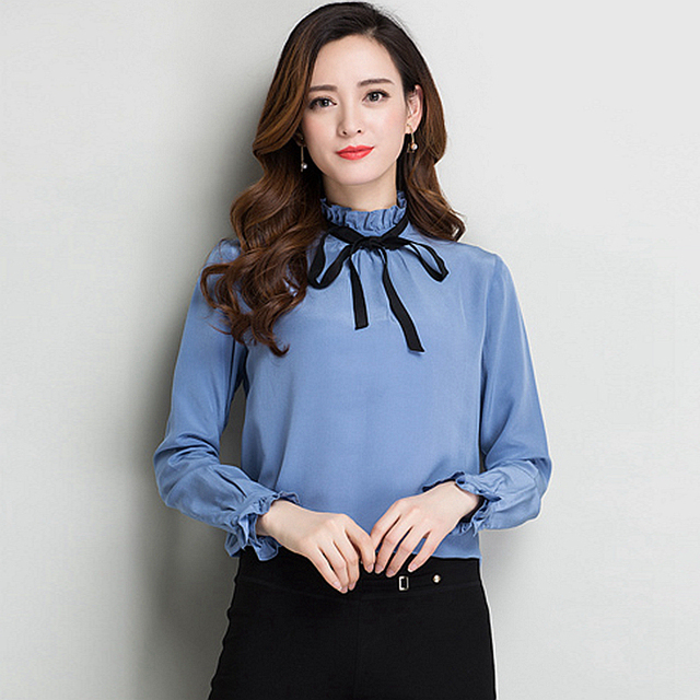e9560d49e8a9ec 100% Silk Blouse Women Shirt Simple Elegant Design Long Sleeves 2 Colors  Office Work Top Graceful Style New Fashion Spring 2018
