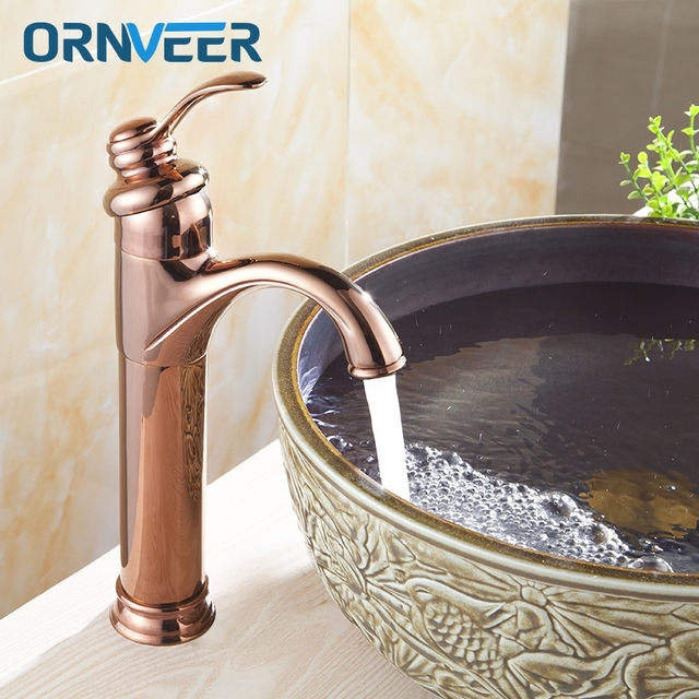 Free Shipping Luxury Gold Plated Tall Bathroom Faucet Royal Single ...