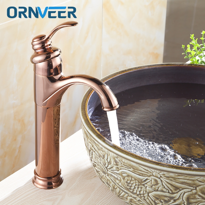 Free Shipping Luxury Gold Plated Tall Bathroom Faucet Royal Single Hole Single Handle Rose Gold Basin Sink Mixer Tap RG-005