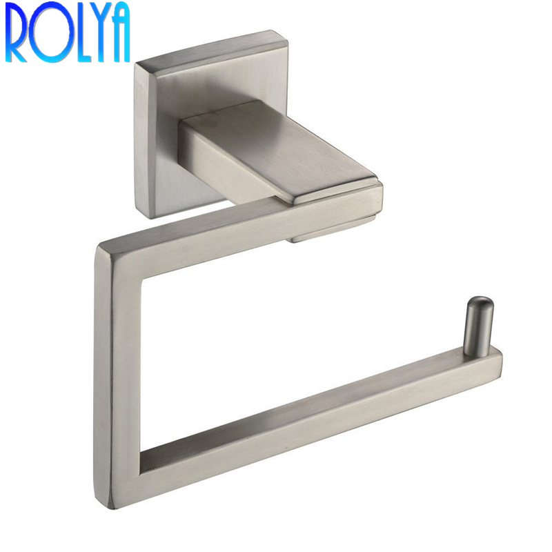 ROLYA Wholesle New High Quality Sus 304 Stainless Steel Brushed Bathroom Washroom Wall Mount Rolling Toilet Paper Holder