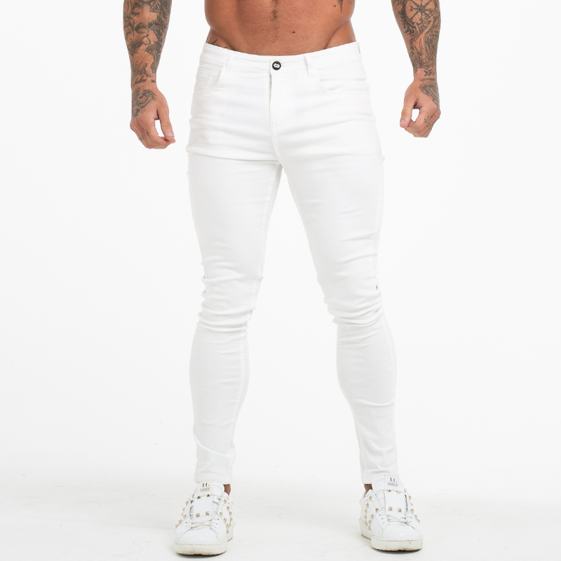 GINGTTO Jeans White Men Cotton High Waist Pants Stretch Jeans Plus Size Summer Men's Waist Elastic Pants Plus Size 36 Zm55
