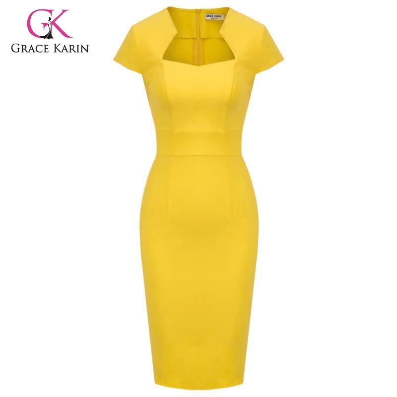 Женское винтажное облегающее платье-карандаш Grace Karin, облегающее платье с рукавами-крылышками, офисное платье
