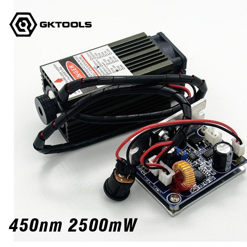"""450 nm, 2500 mW galios 12 V lazerio modulis turi TTL, reguliuojamo fokusavimo mėlynojo lazerio modulį. """"Pasidaryk pats"""" lazerinių graviūrų mašinų priedai."""