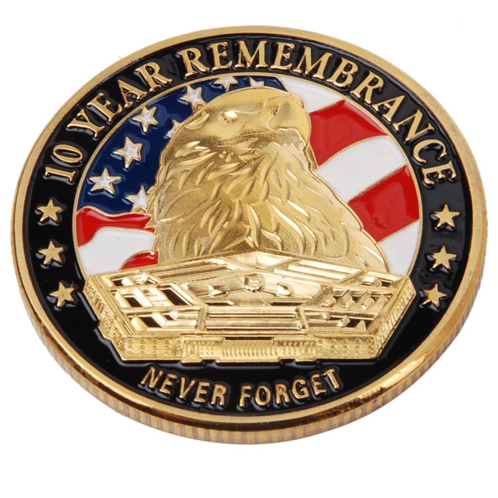 US NEVER FORGET 911 10 YEARS REMEMBRANCE METAL CHALLENGE COIN - 36300