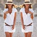 Женская Повседневная Бобо Платье Вечернее V-образным Вырезом Летний Пляж Короткие Мини Платья Размер S-XL
