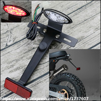 Retro motorcycle modified short tail LED taillight assembly brake light license plate bracket rear reflector