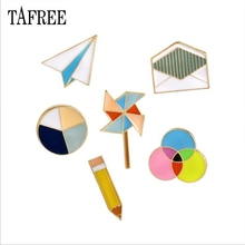 TAFREE New Personality Lapel Pins Colorful Paper aircraft,windmill, envelope,pencil Brooches Enamel Badge Dress accessories LP69