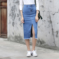 Yichaoyiliang Women Summer Skinny Denim Skirt Mid-calf Length One Step Skirt Package Hip Skirt Sexy Front Slit Tassels Hem