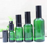5ml,10ml,15ml,20ml,30ml,50ml,100ml Empty Glass Spray Bottle with Black cap Green Sprayer Atomizer bottle for essential oils
