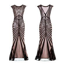 Women 1920s Great Gatsby Dress Long 20s Flapper Dress Vintage O Neck Sleeveless Backless Maxi Party Dress for Prom Cocktail