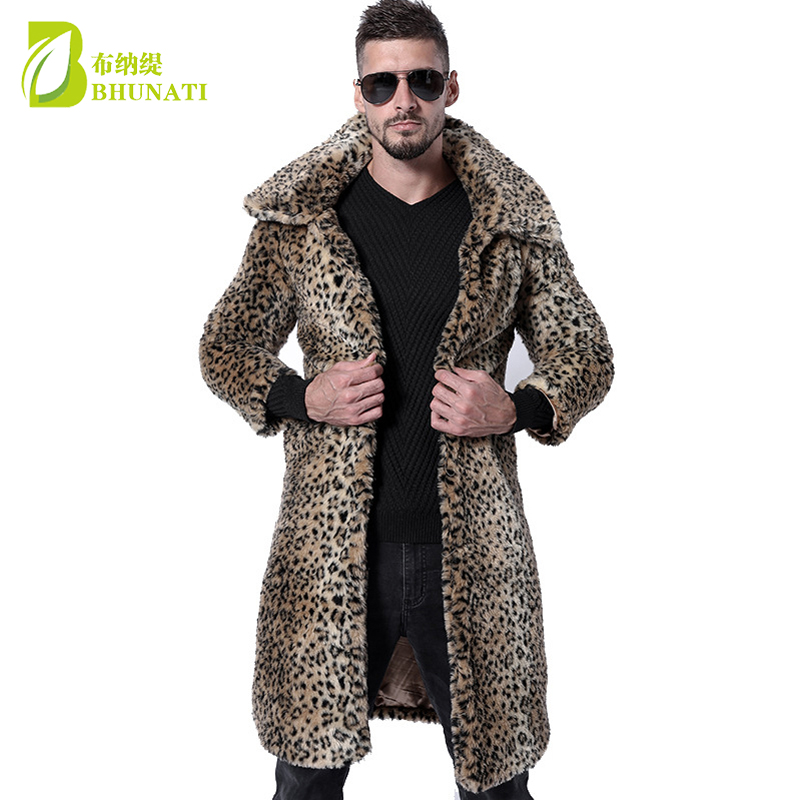Automne et hiver hommes nouveau manteau en fausse fourrure léopard grand revers Long manteau vison renard fourrure longue Outwear veste en fausse fourrure
