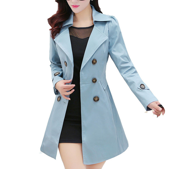Autumn Trench Coat for Woman 2015  Solid Double Breasted Lapel Cotton Long Trench Outerwear & Womens Coat  Windbreaker