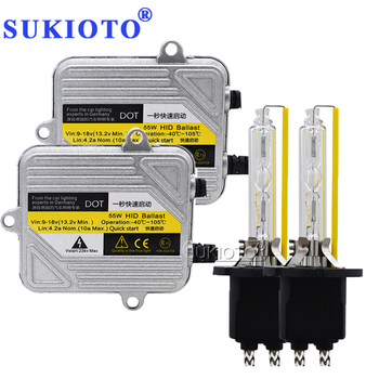 SUKIOTO ksenonowe H7 zestaw HID D2H D2S 55 W H1 H3 H4 reflektorów ksenonowych H7 H8 H11 H27 HB3 HB4 9005 samochód światło ksenonowe HID reflektorów stylizacji tanie i dobre opinie 12 v HID Headlight Bulbs 55W H1 H3 H7 H8 H9 H11 HB3 HB4 9005 9006 880 881 H27 D2S fast bright DC12V 55W ballast HID kit