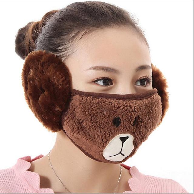 Cute bear design women Ear protective mouth mask Windproof earmuff anti dust winter masks girls Anti Haze Flu cotton Face masks 1