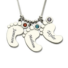 купить New 925 Sterling Silver Personalized Mothers Necklace Baby Feet Name Necklace with Birthstone Custom Jewelry Gift For Baby gift по цене 1449.93 рублей