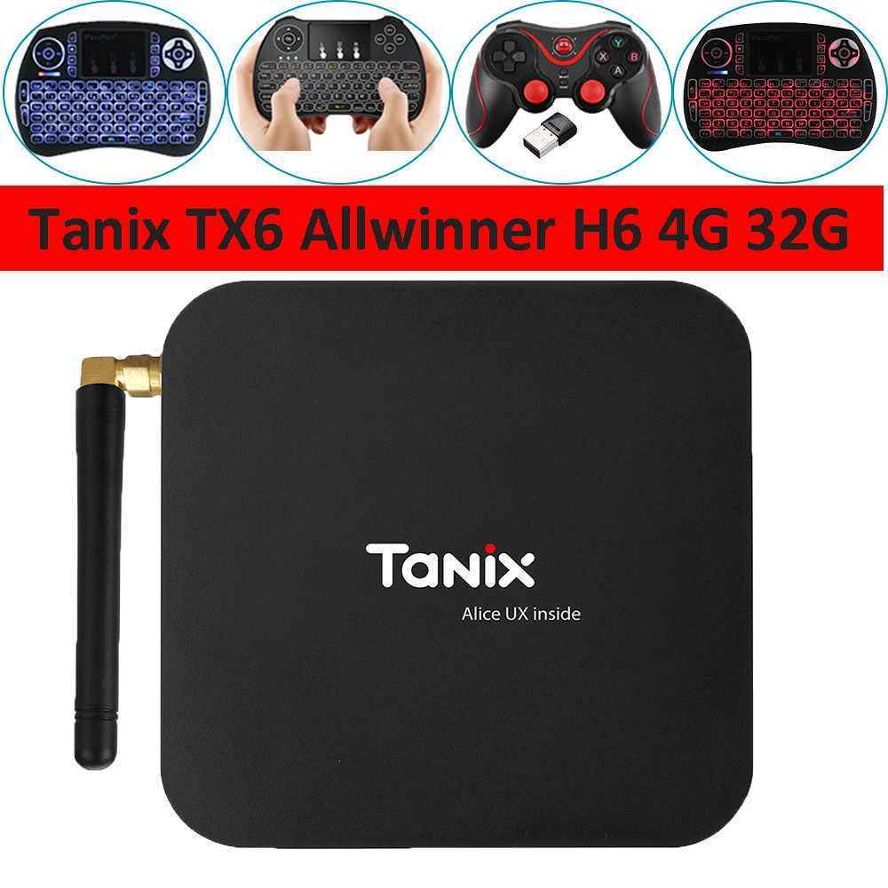 Tanix TX6 TV Box Allwinner H6 4 GB DDR3 32 GB EMMC 2.4 GHz 5 GHz WiFi BT4.1 Hỗ Trợ 4 K H.265 Bluetooth 4.0 WIFI Android 9.0 TV BOX
