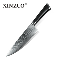 XINZUO 8 inches Chef Knife 73 layers Japanese Damascus Kitchen Knife Kitchen Tool 62 Hrc Carving Gyuto Knife Ebony Wood Handle