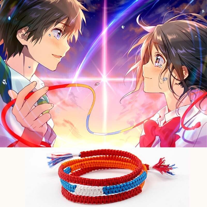 Kimi No Na Wa Your Name Mitsuha Miyamizu Taki Tachibana Cosplay Rope Bracelet Handmade Ornaments Charm Bracelets Aliexpress