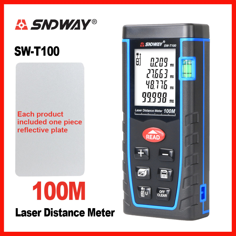 SNDWAY Laser Abstand Meter Reichweite Finder Entfernungsmesser Elektronische Band Trena Herrscher Tester Hand Werkzeug Gerät Bauen 40 mt 60 mt 80 mt 100 m