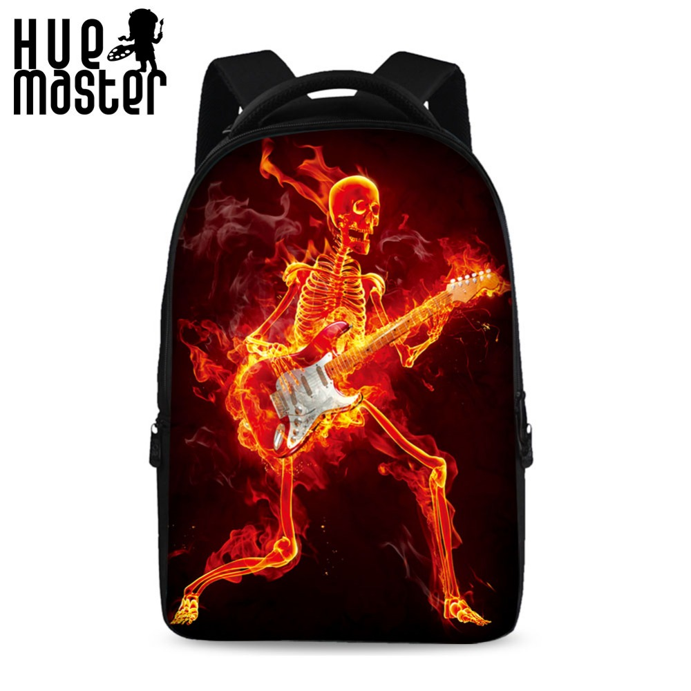 HUE MASTER 17 inch flame skull pattern cool school backpack  laptop bag can store 15 inch computer big space leisure backpack