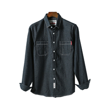 2019 spring and summer classic denim shirt mens casual fashion simple cotton loose large size S-4XL