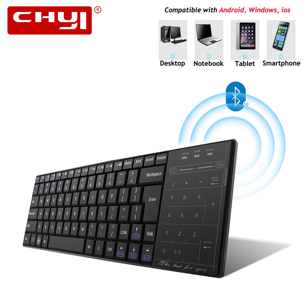 CHYI Ultra thin Bluetooth3.0 Wireless Keyboard Slim Touch Pad Computer Keypad for Windows Mac/iOS Android SmartPhone Laptop