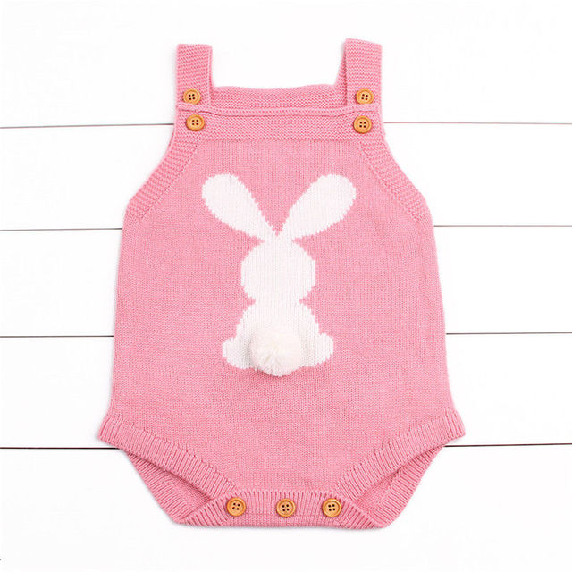110a7a886 Newborn Baby Boy Girl Bunny Pattern Knitting Wool Cotton Bodysuit ...