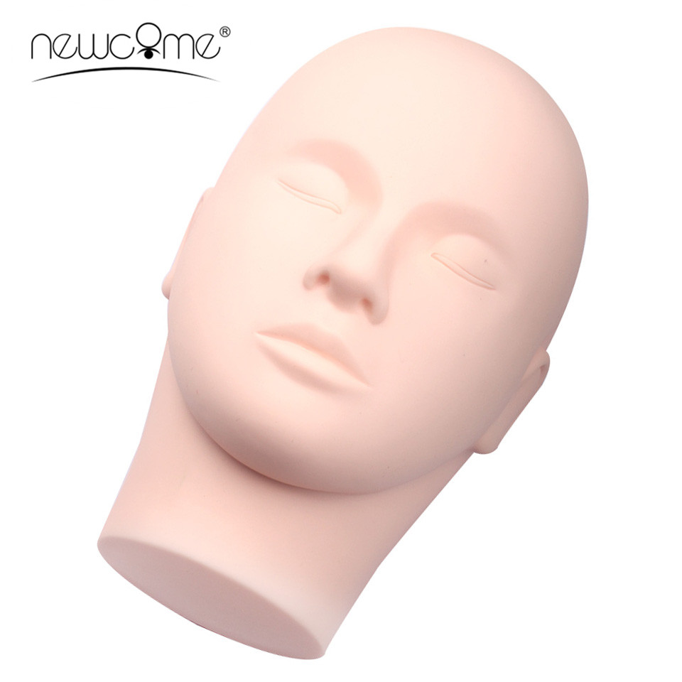 1PC Silicone Practice Head Training Mannequin Flat Head Practice Faux Eyelash Extensions Professional Makeup Practice Tool