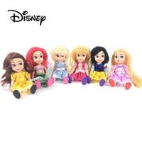 New Disney 15cm/6.5inch Princess Dress Up Dolls Ariel Snow White Belle Cinderella Jasmine Dolls Birthday Gift Box For Girl Baby