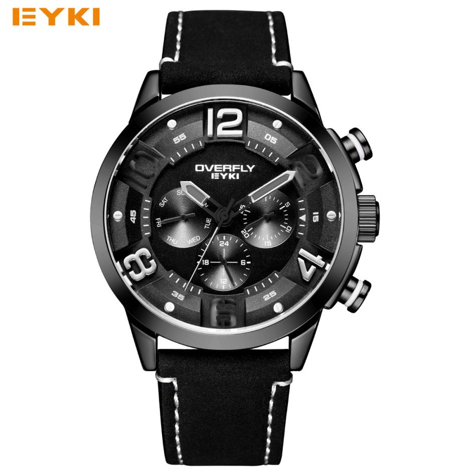 Prix pour Eyki de mode racing sport montres pour hommes trois yeux multifonction stéréoscopique cadran lumineux top marque homme montres à quartz-montre