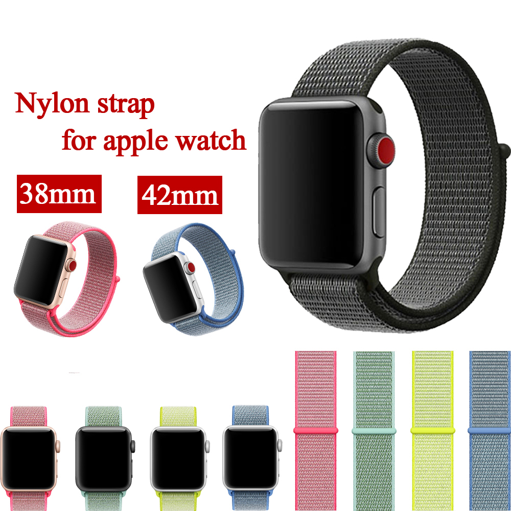 Sport Nylon Loop Strap for Apple Watch Bands 42mm 38mm iwatch 3/2/1 weave strap wrist bracelet watchband fabric-like clock band band for apple watch pink stripes woven nylon fabric buckle watchband 38mm 42mm sport strap for iwatch 2 watches accessories