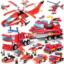 697pcs 12 in 2 Blocks Trucks Car Helicopter Boat Building Blocks Compatible LegoINGLY City Firefighter Figures Children Toy Gift(China)