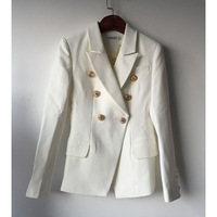 Spring High Quality Designer Blazer Jacket Woman Lion Metal Double Breasted Suit Jacket Women Black White Work Wear Coat S XXXL