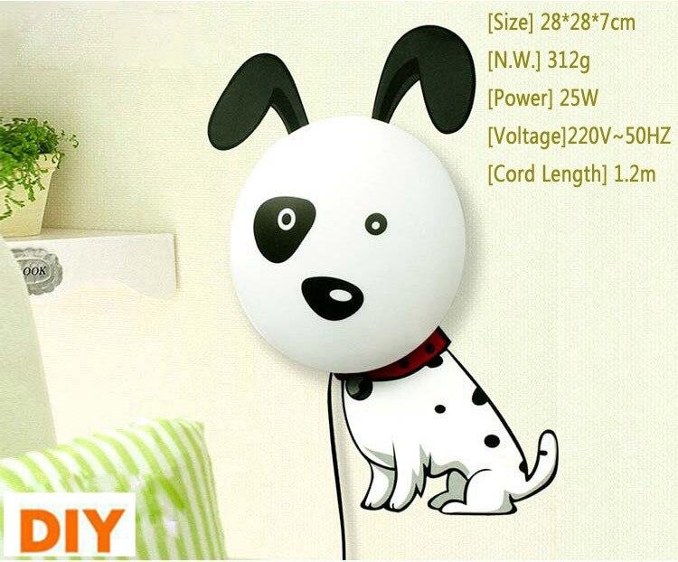 2018 New Wallpaper wall sticker Paper Wall Lamp night light 3D DIY Novelty Kid Baby Bedroom Cartoon Night lamp Home Decor Dog