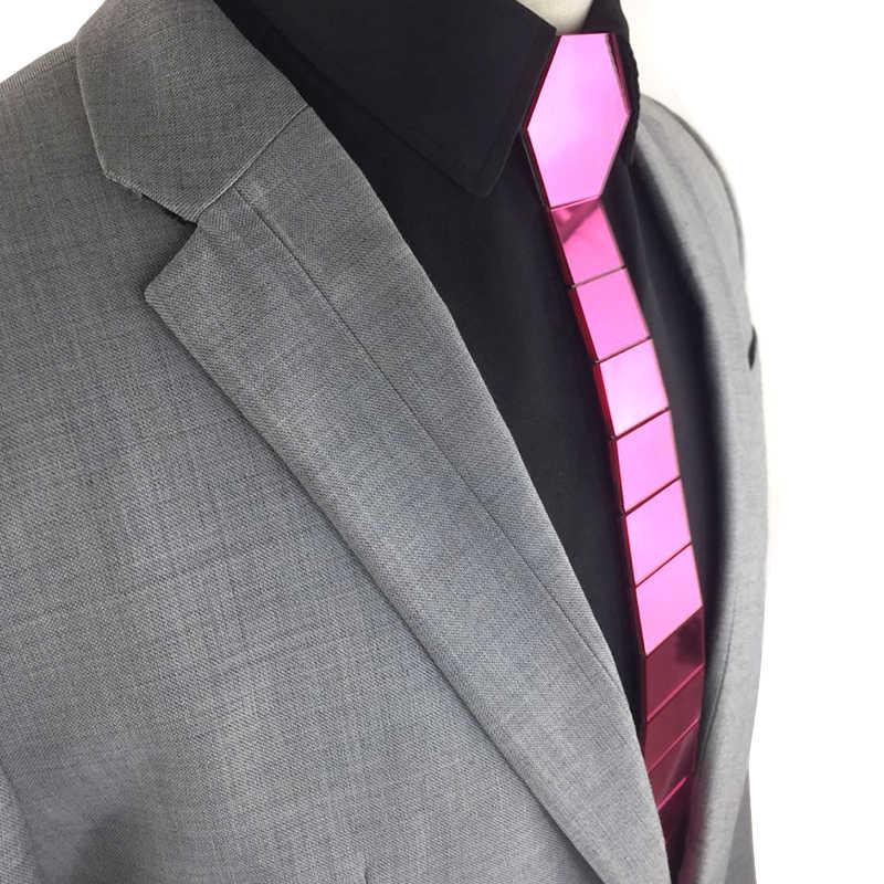 GEOMETIE Men Skinny Tie Unique Handmade Bling Mirror Neckties Striped Magenta Pink Stylish Ties Christmas Gift Wedding Accessory