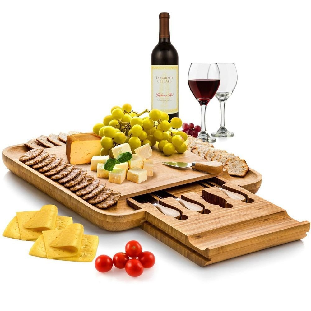 Bamboo Cheese Board with Cutlery Wood Charcuterie Platter Serving Meat Board with Slide Out Drawer