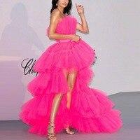 Длинное вечернее платье с открытой спиной, изготовленное на заказ Многоуровневое ярко розовое вечернее платье без бретелек с открытыми пле