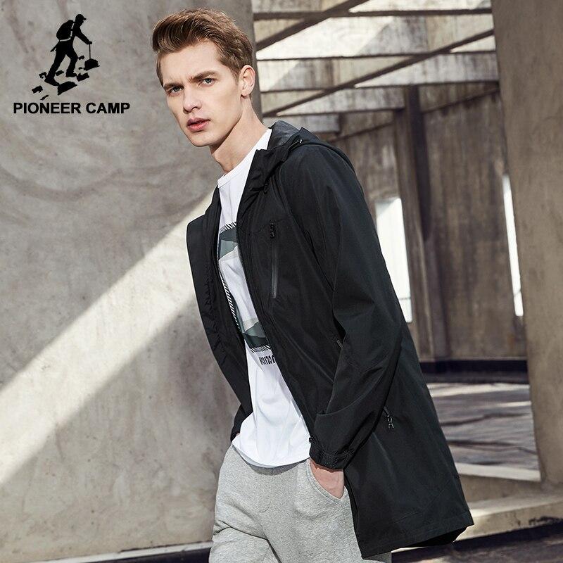 Acampamento pioneiro nova chegada longo casaco casacos dos homens marca de roupas casaco com capuz para homens masculino qualidade casaco corta-vento AJK703024