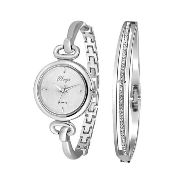 Montre Femme Women Silver Rhinestone Bangle Watch And Bracelet Set