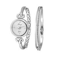montre femme Women Silver Rhinestone Bangle Watch And Bracelet Set 590S Wristwatches Female Gold Dress Watch s feminin #0713