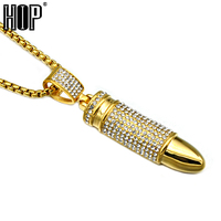 HIP Hop Gold Color Stainless Steel Iced Out Bling Micro Pave Full Rhinestone Bullet Pendants Necklaces for Men Jewelry