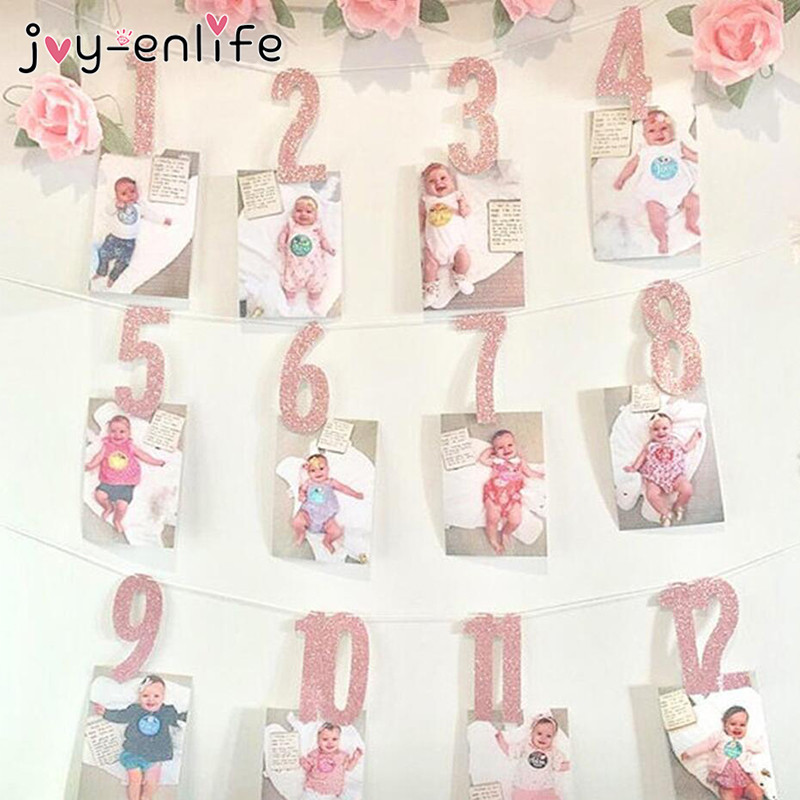 JOY-ENLIFE 1Set 1-12 Months Gold/Pink Number Banners Baby Shower Birthday Party Garlands Banners Buntings Kids Photo Props Decor