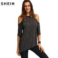 SheIn Summer Woman Fashion Tops Ladies Tee Shirts Casual Half Sleeve Cold Shoulder Black Crew Neck