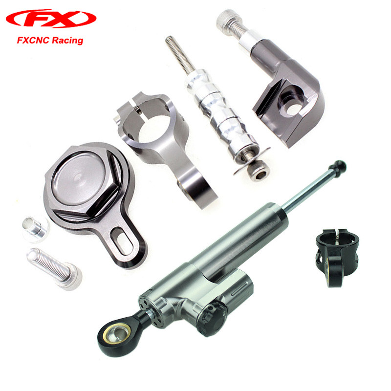 1 Set FXCNC Steering Damper Mounting Stabilizer with Brackets Safety Control for Yamaha YZF R1 1998 1999 2000 2001 (for Yamaha) fxcnc aluminum motorcycle steering stabilizer damper mounting bracket support kit for yamaha fz1 fazer 2006 2015 2007 2008 09