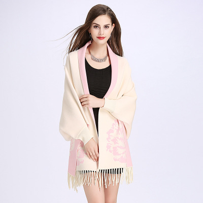 2018 Spring floral open stitch tassel wrap swing sweaters cloak shawl large size Russian women new fashion clothing cloth 1111