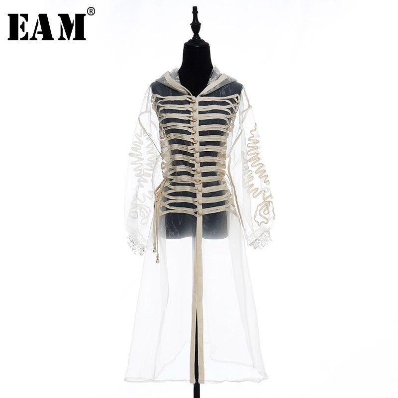 [EAM] 2019 New Autumn Winter Lapel Long Sleeve Apricot Split Joint Perspective Loose Long Windbreaker Women   Trench   Fashion JW762