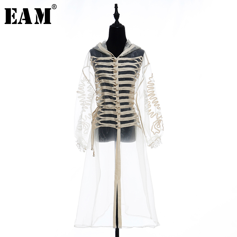 [EAM] 2020 New Spring Autumn Lapel Long Sleeve Apricot Split Joint Perspective Loose Long Windbreaker Women Trench Fashion JW762